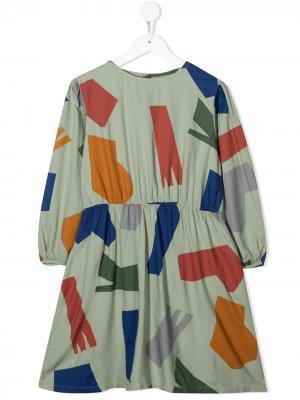 Платье Shadows с геометричным принтом Bobo Choses. Цвет: зеленый