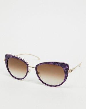 Круглые солнцезащитные очки в черепаховой оправе Etro-Коричневый ETRO