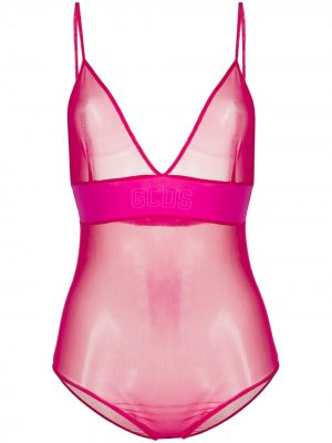 Прозрачное боди Gcds. Цвет: розовый