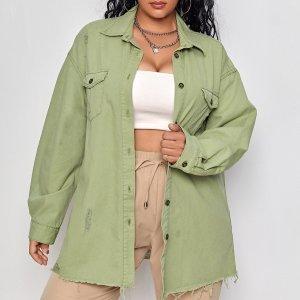 Разрезы Одноцветный Повседневный Джинсовая куртка размера плюс SHEIN. Цвет: мятно-зеленый