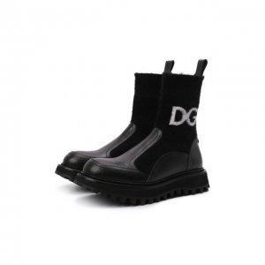 Комбинированные ботинки Bernini Dolce & Gabbana. Цвет: чёрный
