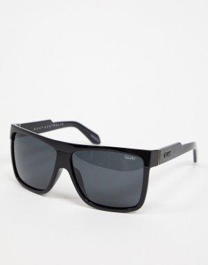 Квадратные солнцезащитные очки в черной оправе -Черный Quay Australia