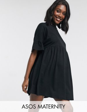 Черное свободное платье с рукавами-оборками ASOS DESIGN Maternity-Черный Maternity