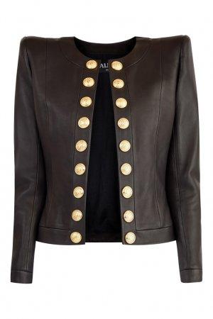 Кожаная куртка с золотистыми пуговицами Balmain. Цвет: черный