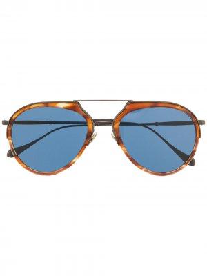 Солнцезащитные очки черепаховой расцветки Giorgio Armani. Цвет: коричневый