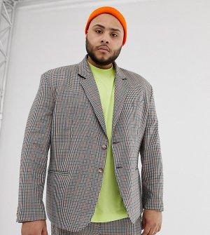 Коричневый oversize-пиджак в клетку COLLUSION Plus