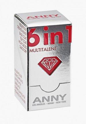 Базовое покрытие Anny мульти средство 6 в 1 прозрачный №950 (основа/уход/закрепляющее для ногтей), 15 мл. Цвет: прозрачный