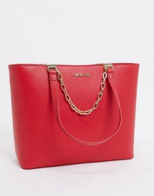 Красная большая сумка-тоут с цепочкой -Красный Love Moschino