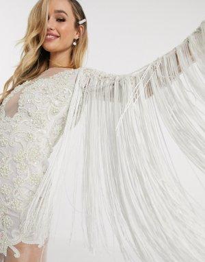 Белое свадебное платье с бахромой и лифом-аппликацией -Белый A Star Is Born