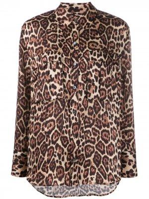 Рубашка с длинными рукавами и леопардовым принтом Equipment. Цвет: черный