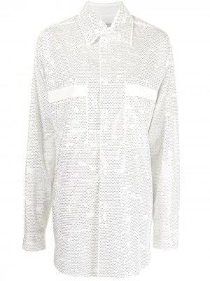 Рубашка оверсайз с кристаллами Faith Connexion. Цвет: белый