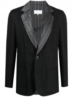 Пиджак с лацканами в полоску Maison Margiela. Цвет: черный