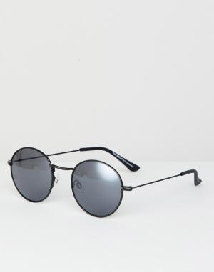 Черные круглые солнцезащитные очки Pull&Bear. Цвет: черный