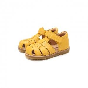Кожаные сандалии Petit Nord. Цвет: жёлтый