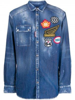 Джинсовая рубашка с нашивкой-логотипом Dsquared2. Цвет: синий