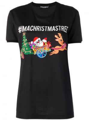 Футболка с принтом #IMACRISTMASTREE Dolce & Gabbana. Цвет: черный