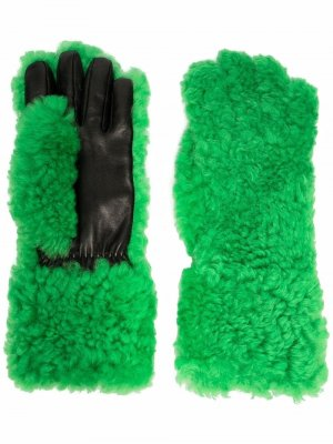 Перчатки со вставками из овчины Bottega Veneta. Цвет: зеленый