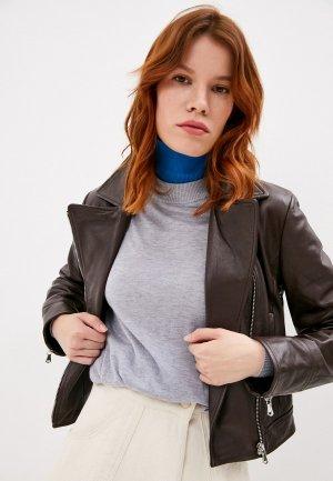Куртка кожаная Sportmax Code ALEC. Цвет: коричневый