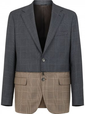 Двухцветный пиджак в клетку Fendi. Цвет: серый