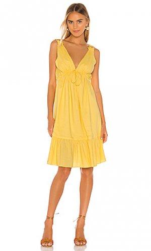 Платье миди esther MAJORELLE. Цвет: желтый
