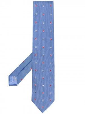 Галстук с вышивкой Brioni. Цвет: синий