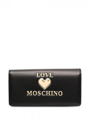 Кошелек с тисненым логотипом Love Moschino. Цвет: черный