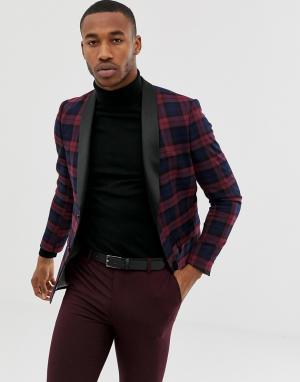 Бордовый приталенный пиджак-смокинг Avail London. Цвет: красный