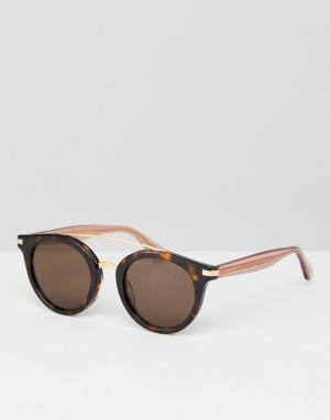 Круглые солнцезащитные очки в черепаховой оправе TH1517 Tommy Hilfiger. Цвет: коричневый