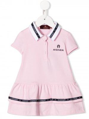 Платье мини с воротником поло и логотипом Aigner Kids. Цвет: розовый