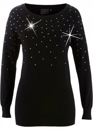 Длинный пуловер bonprix. Цвет: черный