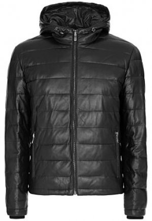 Утепленная кожаная куртка с капюшоном Al Franco
