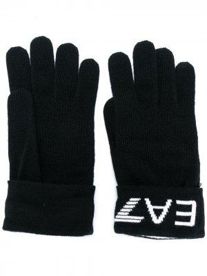Перчатки с вышитым логотипом Ea7 Emporio Armani. Цвет: черный
