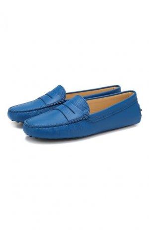Кожаные мокасины Gommini Tod's. Цвет: синий