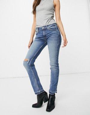 Синие выбеленные узкие джинсы бойфренда с манжетами We Free от People-Голубой The by People