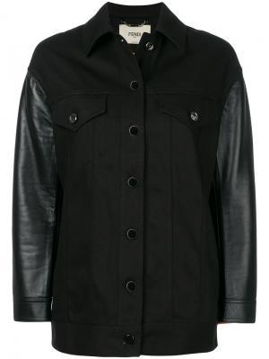 Джинсовая куртка с вышивкой Karlito Fendi. Цвет: чёрный