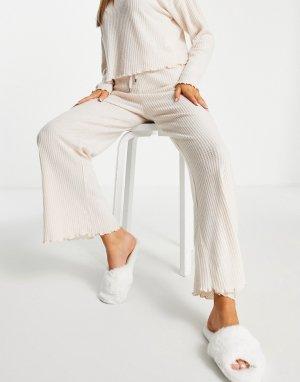 Кремовые домашние брюки с широкими штанинами из вафельной ткани от комплекта -Белый New Look