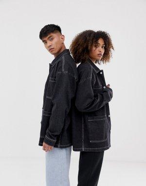 Джинсовая куртка COLLUSION Unisex. Цвет: черный