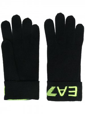 Перчатки вязки интарсия с логотипом Ea7 Emporio Armani. Цвет: черный