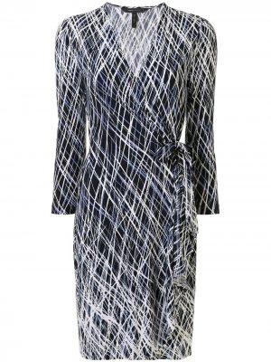 Платье мини с оборками и графичным принтом BCBG Max Azria. Цвет: разноцветный