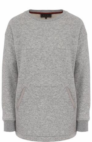 Кашемировый пуловер с круглым вырезом и накладным карманом Loro Piana. Цвет: серый