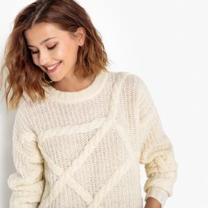 Пуловер с круглым вырезом из тонкого трикотажа SELECTED FEMME. Цвет: экрю