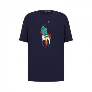 Хлопковая футболка Polo Ralph Lauren. Цвет: синий