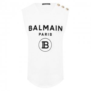 Хлопковый топ Balmain. Цвет: чёрно-белый