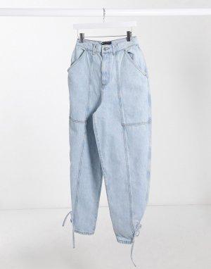 Светлые джинсы бойфренда с завышенной талией -Синий ASOS DESIGN