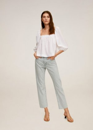 Укороченные джинсы straight fit - Havana Mango. Цвет: джинсовый серый