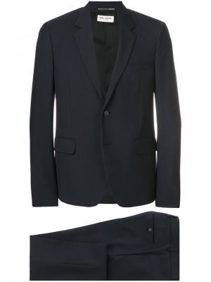 Строгий костюм-двойка Saint Laurent. Цвет: синий