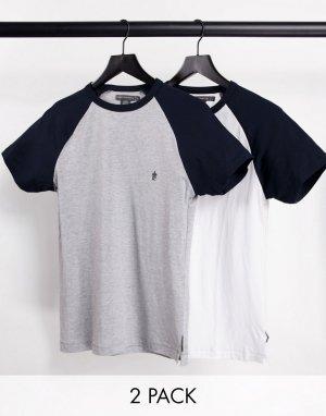 Набор из 2 футболок с рукавами реглан (белый/темно-синий и светло-серый/темно-синий) -Многоцветный French Connection