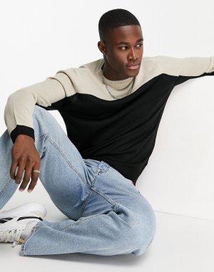 Джемпер в стиле колор блок черного и светло-бежевого цветов -Черный цвет Soul Star