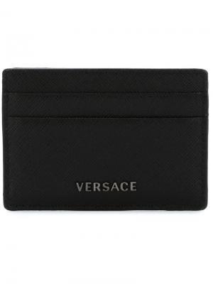 Визитница с логотипом Versace. Цвет: чёрный