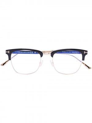 Очки в полуободковой оправе TOM FORD Eyewear. Цвет: черный